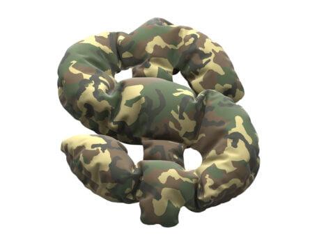 camouflage print on a dollar symbol